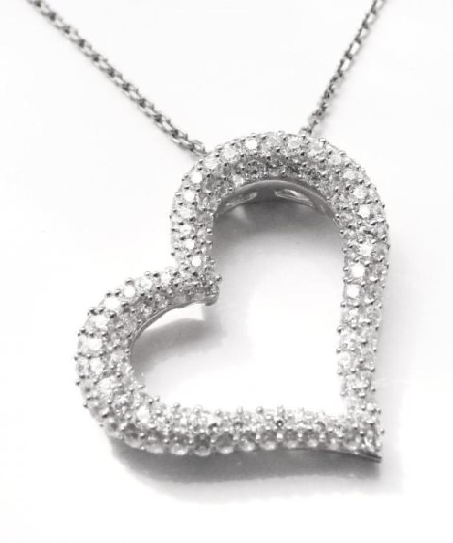 Creation Diamond Heart Pendant 1.20ct 18k W/g Over