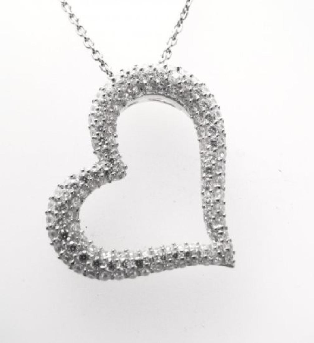 Creation Diamond Heart Pendant 1.20ct 18k W/g Over - 2