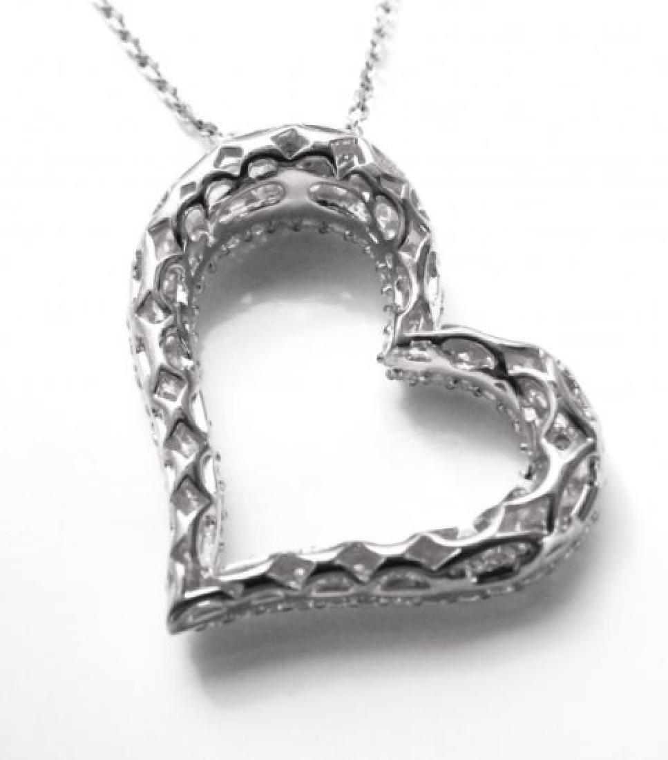 Creation Diamond Heart Pendant 1.20ct 18k W/g Over - 3