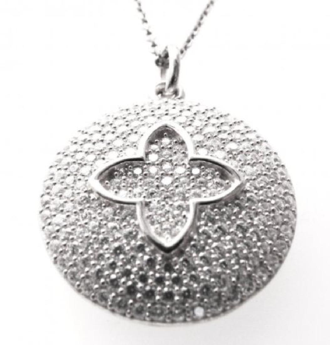 Diamond Creation Flower Pendant 2.50ct 18k W/g Over