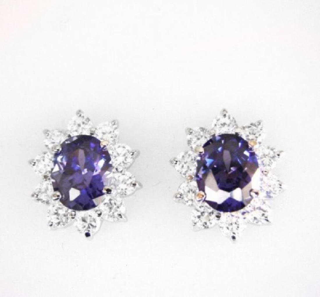 Creation Diamond/Tanzanite Earrings 6.18Ct 18k W/g Over