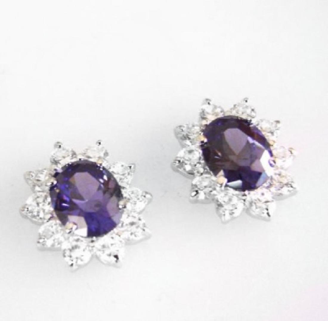 Creation Diamond/Tanzanite Earrings 6.18Ct 18k W/g Over - 2