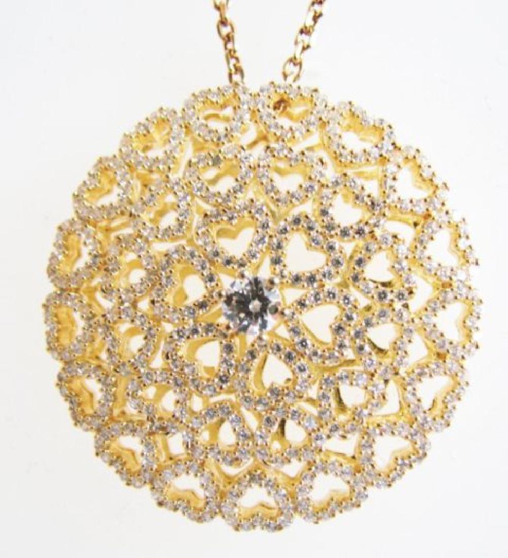 Creation Diamond Pendant 3.50ct 18k Y/g Overlay