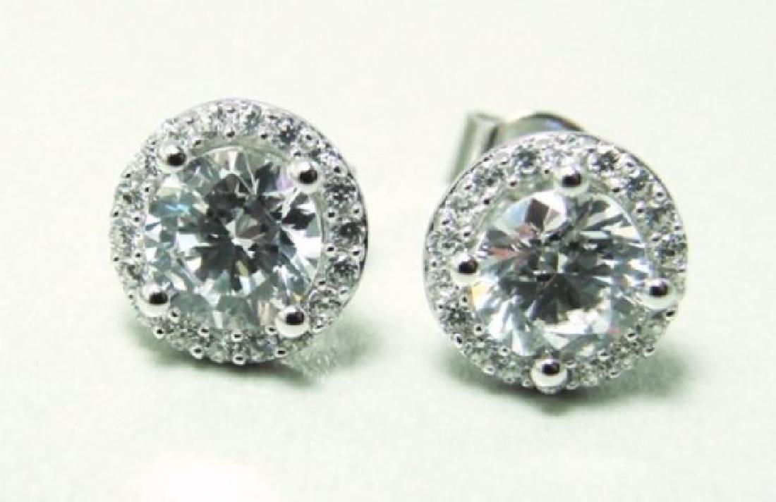 Creation Diamond Stud Earring 2.40Ct 18k W/g Over