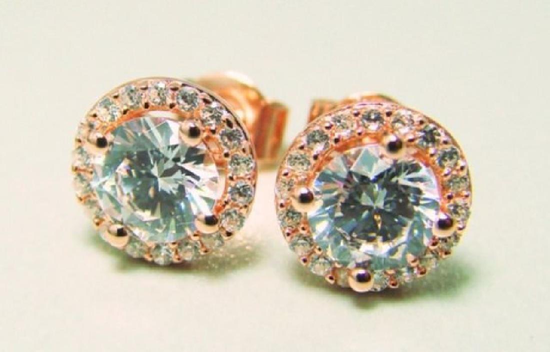 Creation Diamond Stud Earring 2.40Ct 18k R/g Over