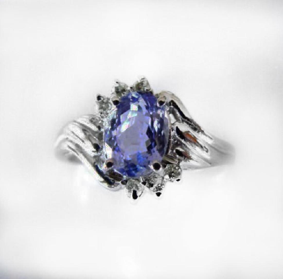 Tanzanite: 1.30 & Diamond: .24CT Ring14k W/g