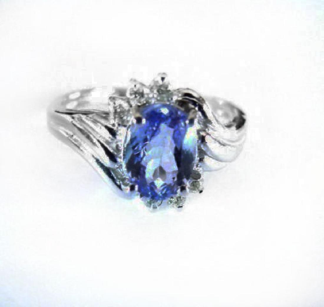 Tanzanite: 1.30 & Diamond: .24CT Ring14k W/g - 2