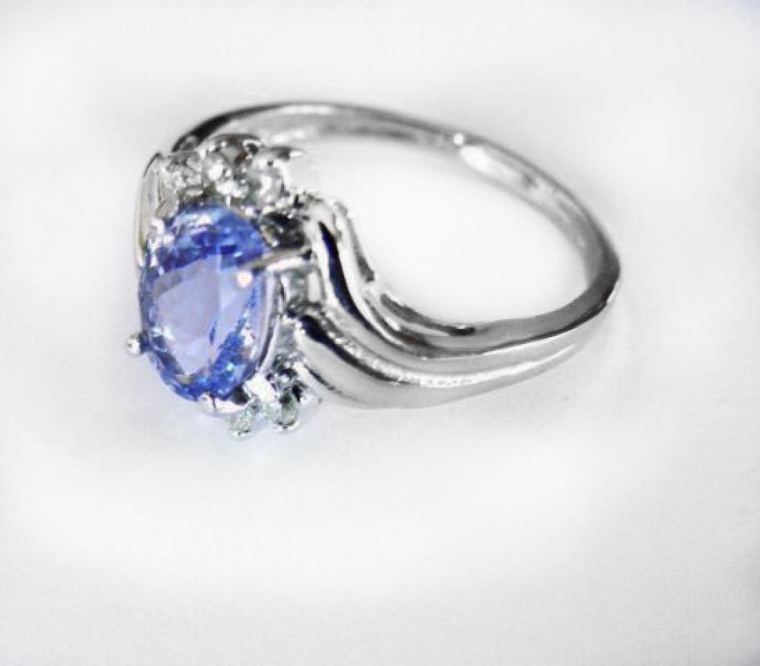 Tanzanite: 1.30 & Diamond: .24CT Ring14k W/g - 3