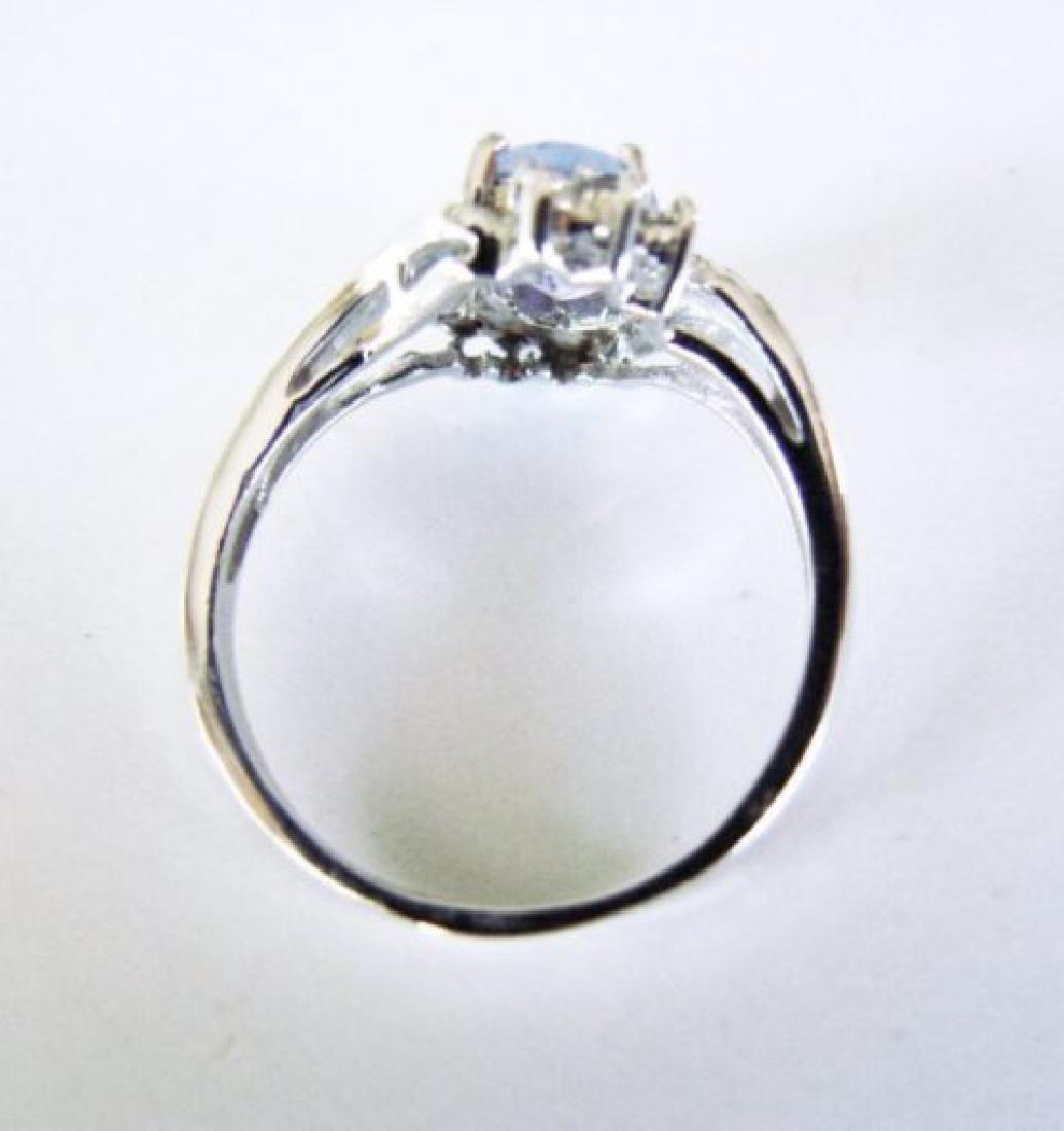 Tanzanite: 1.30 & Diamond: .24CT Ring14k W/g - 4
