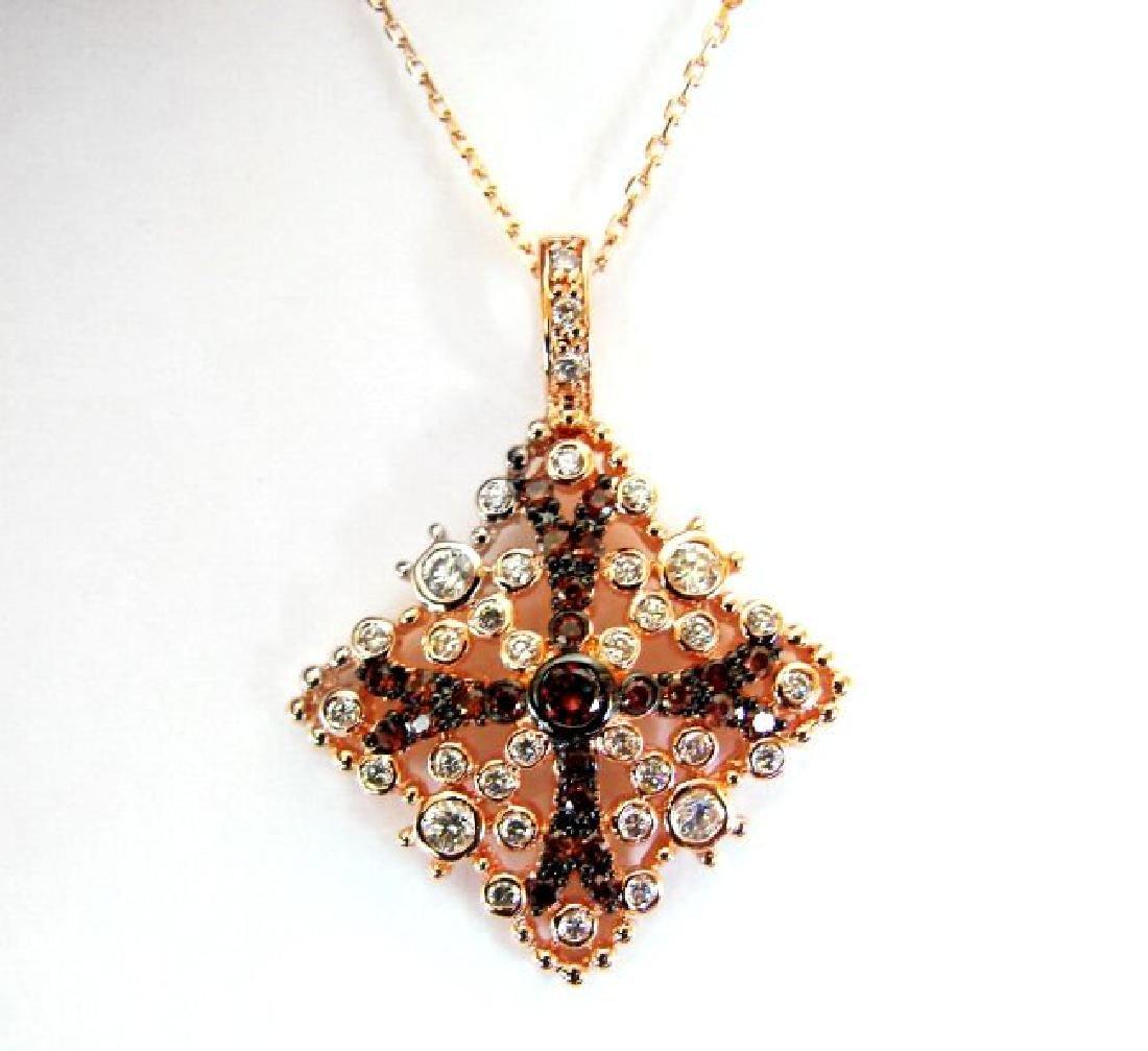Creation Diamond W-B Pendant 3.37Ct 18k R/g Overlay