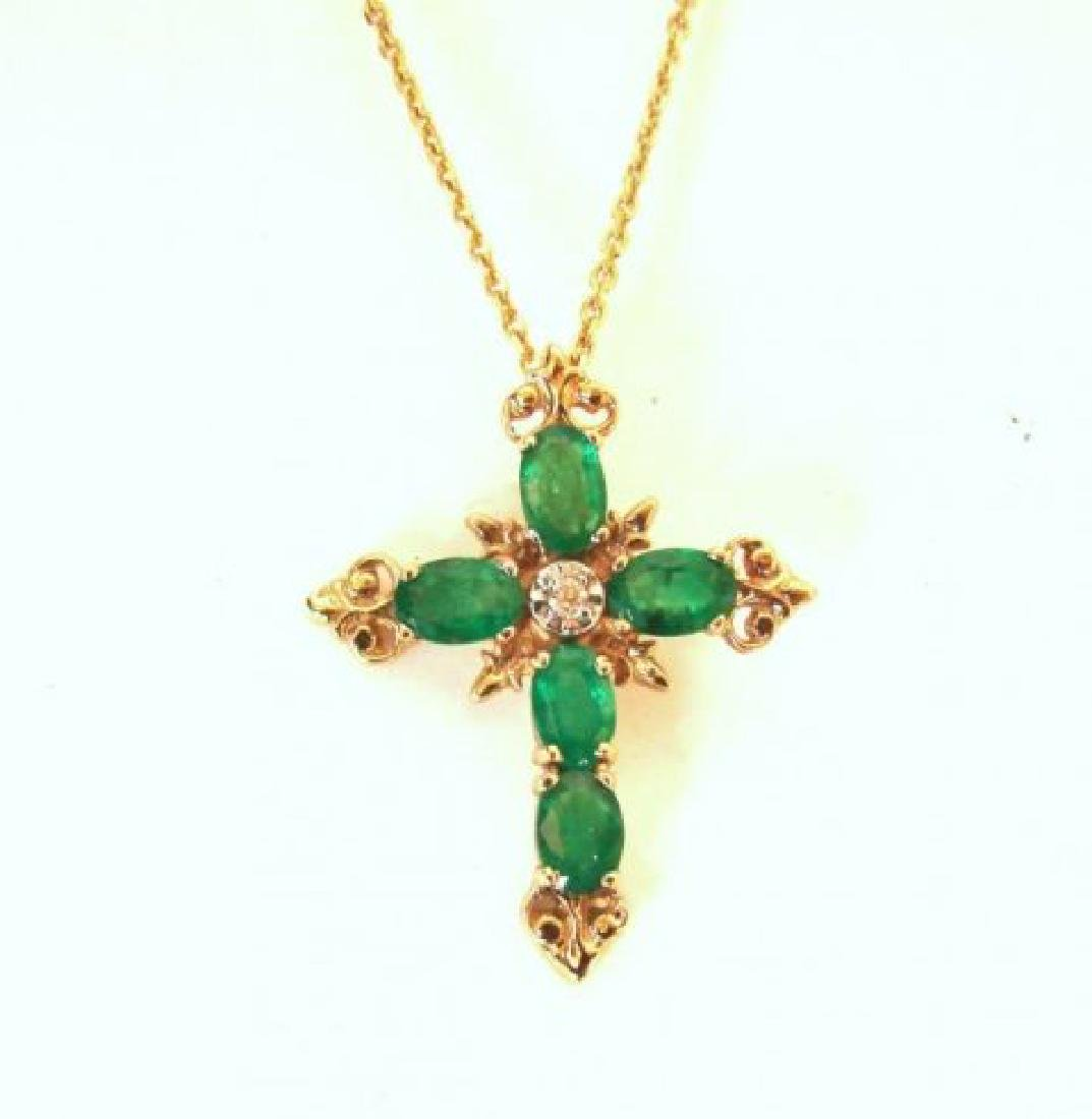 Emerald Diamond Cross Pendaent 4.47Ct14k Y/g