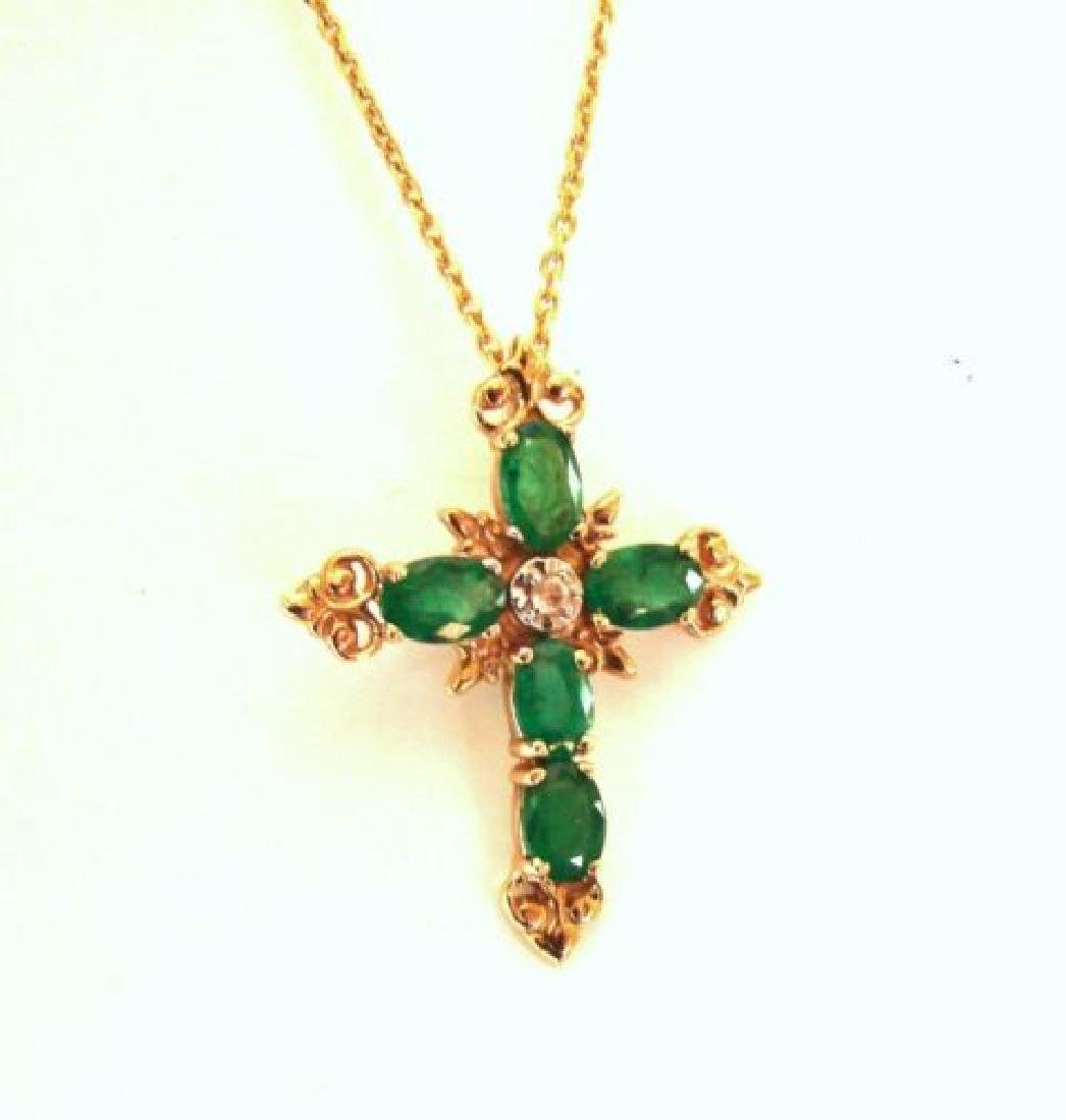 Emerald Diamond Cross Pendaent 4.47Ct14k Y/g - 2