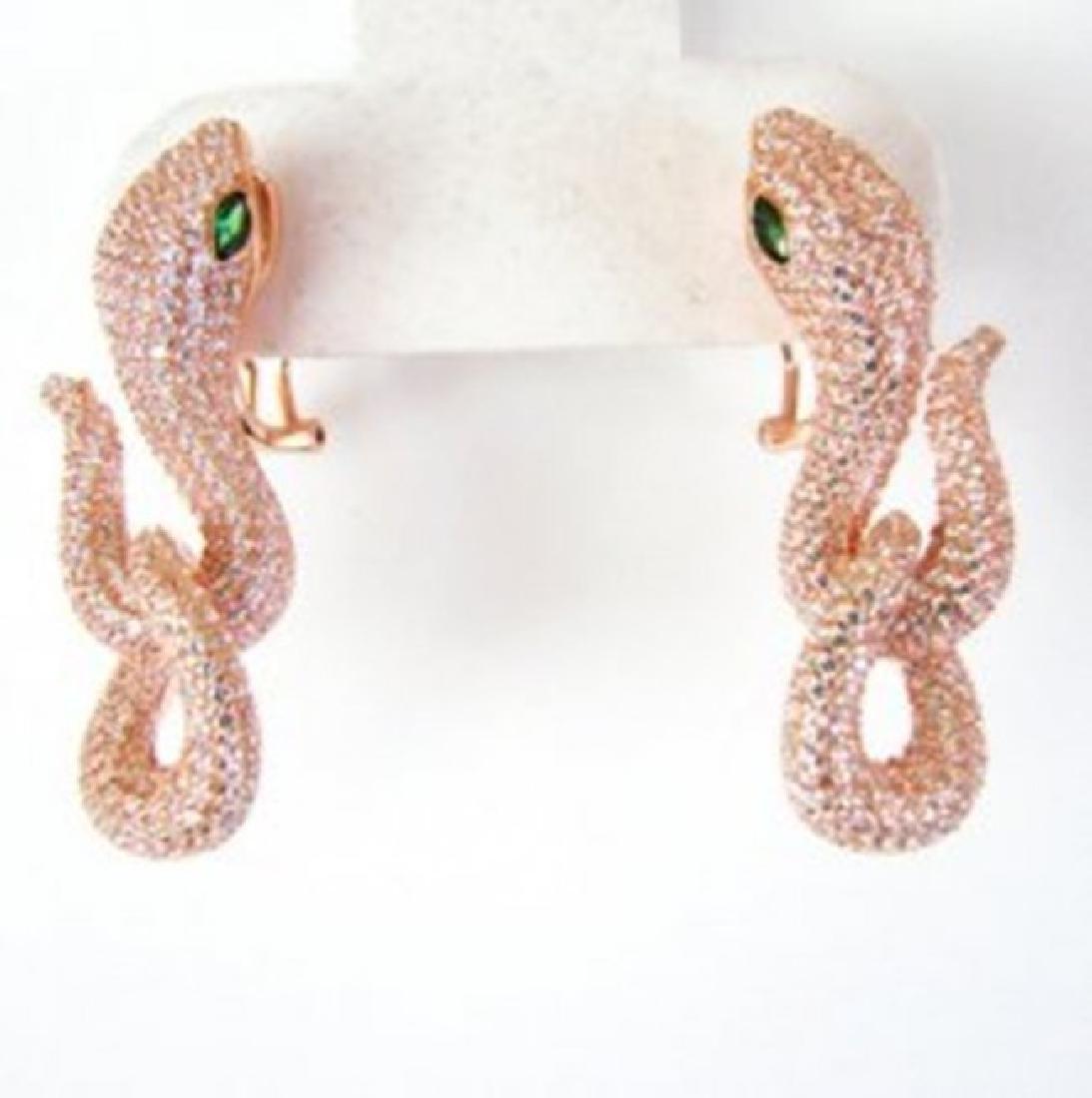 Creation Diamond Snake Earrings 6.57Ct 18k R/g Overlay - 2