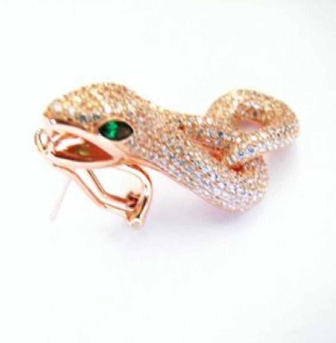 Creation Diamond Snake Earrings 6.57Ct 18k R/g Overlay - 3