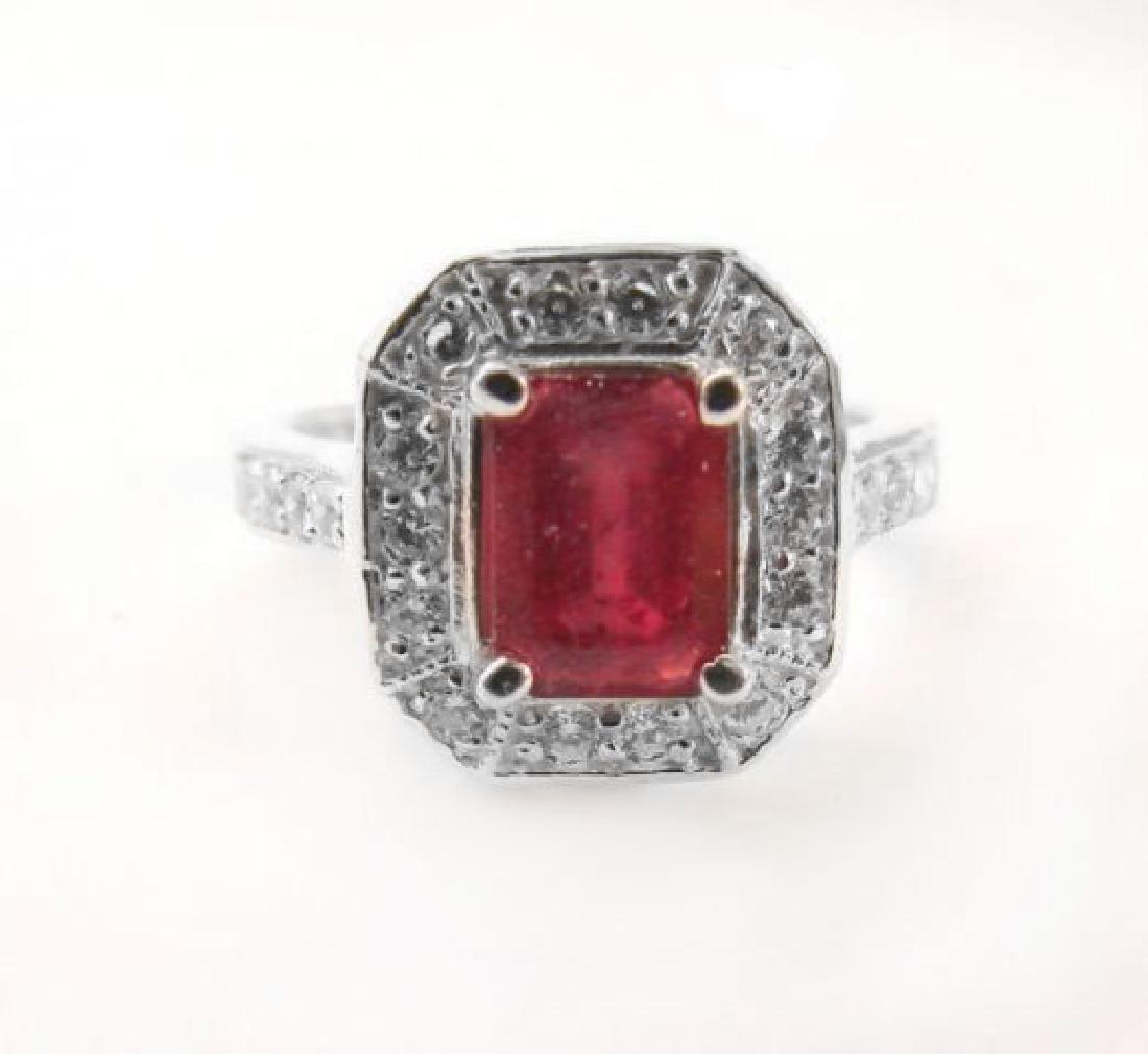 Natural Ruby: 2.14CT Diamond: .22 CT Ring W/G
