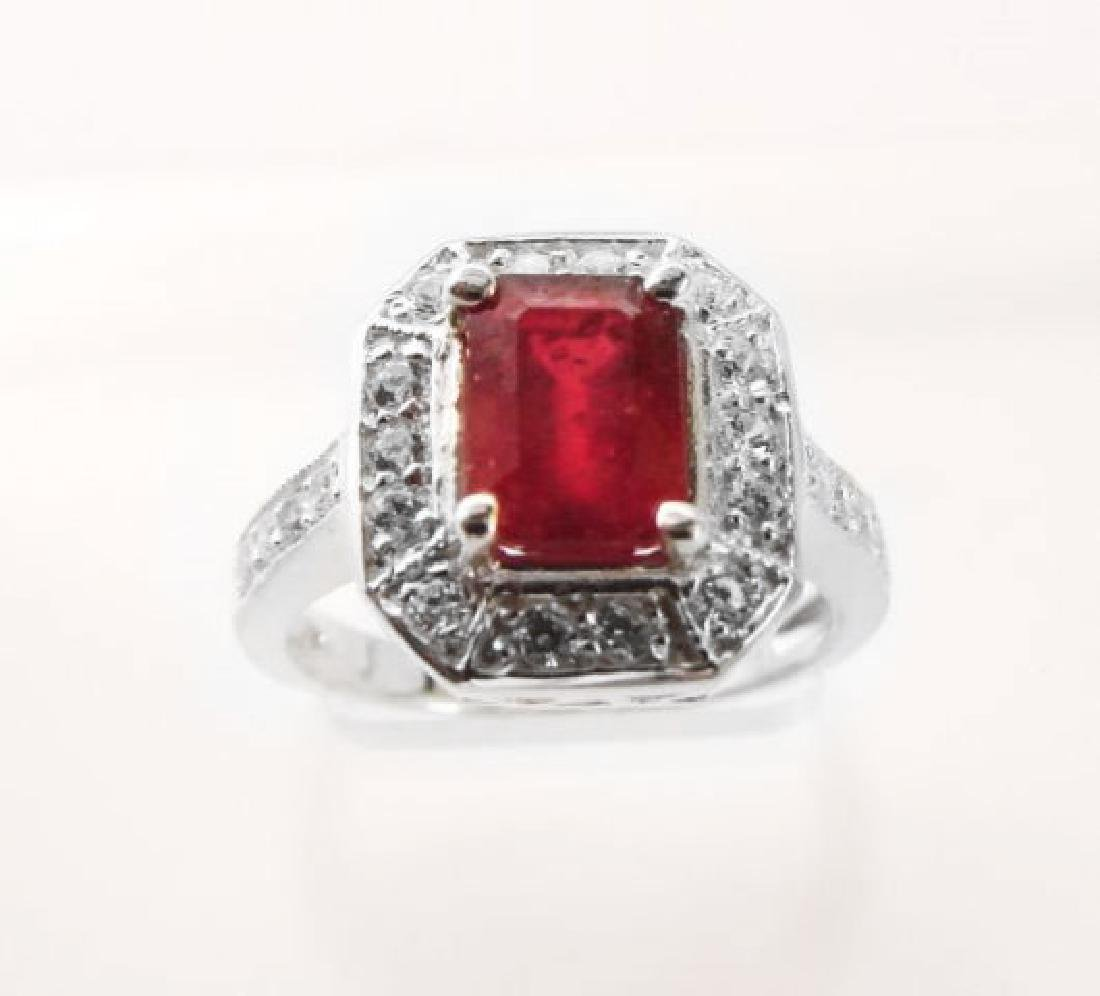 Natural Ruby: 2.14CT Diamond: .22 CT Ring W/G - 2