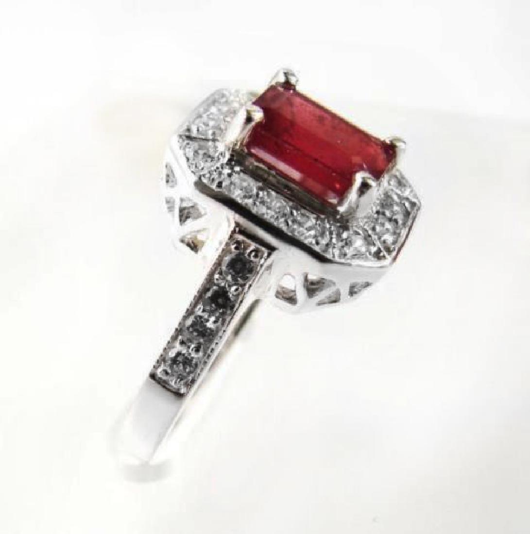 Natural Ruby: 2.14CT Diamond: .22 CT Ring W/G - 3