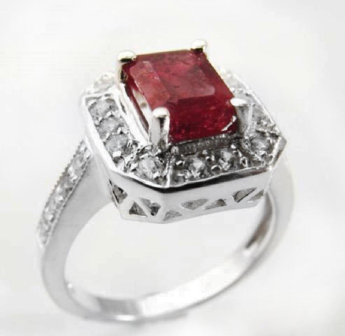 Natural Ruby: 2.14CT Diamond: .22 CT Ring W/G - 4