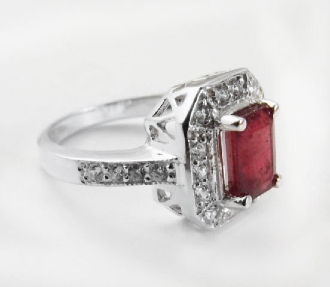 Natural Ruby: 2.14CT Diamond: .22 CT Ring W/G - 5