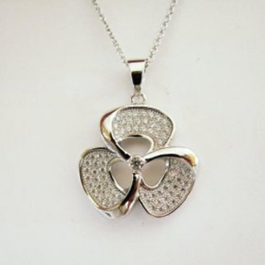 Creation Diamond Flower Pendant .83Ct 18k W/g Overlay