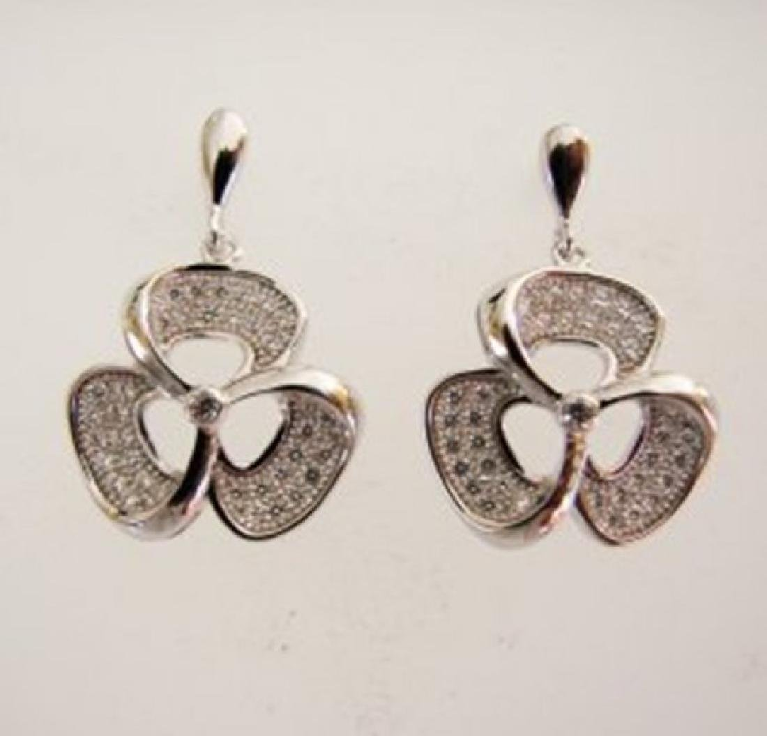 Creation Diamond Flower Earrings .87Ct 18k W/g Overlay