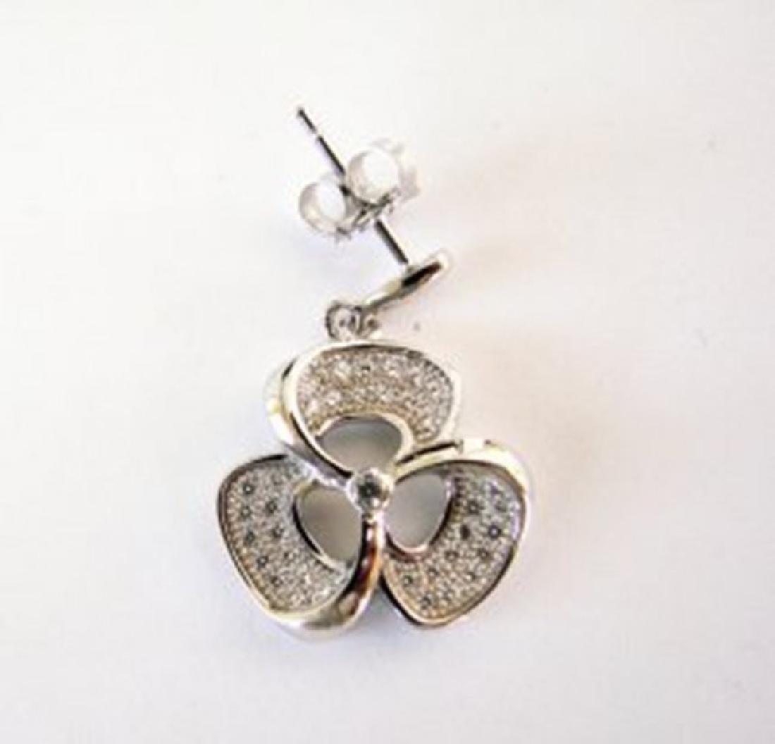 Creation Diamond Flower Earrings .87Ct 18k W/g Overlay - 2