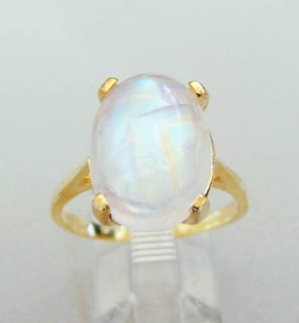 Natural Moonstone Ring 6.15Ct 14k Yellow Gold