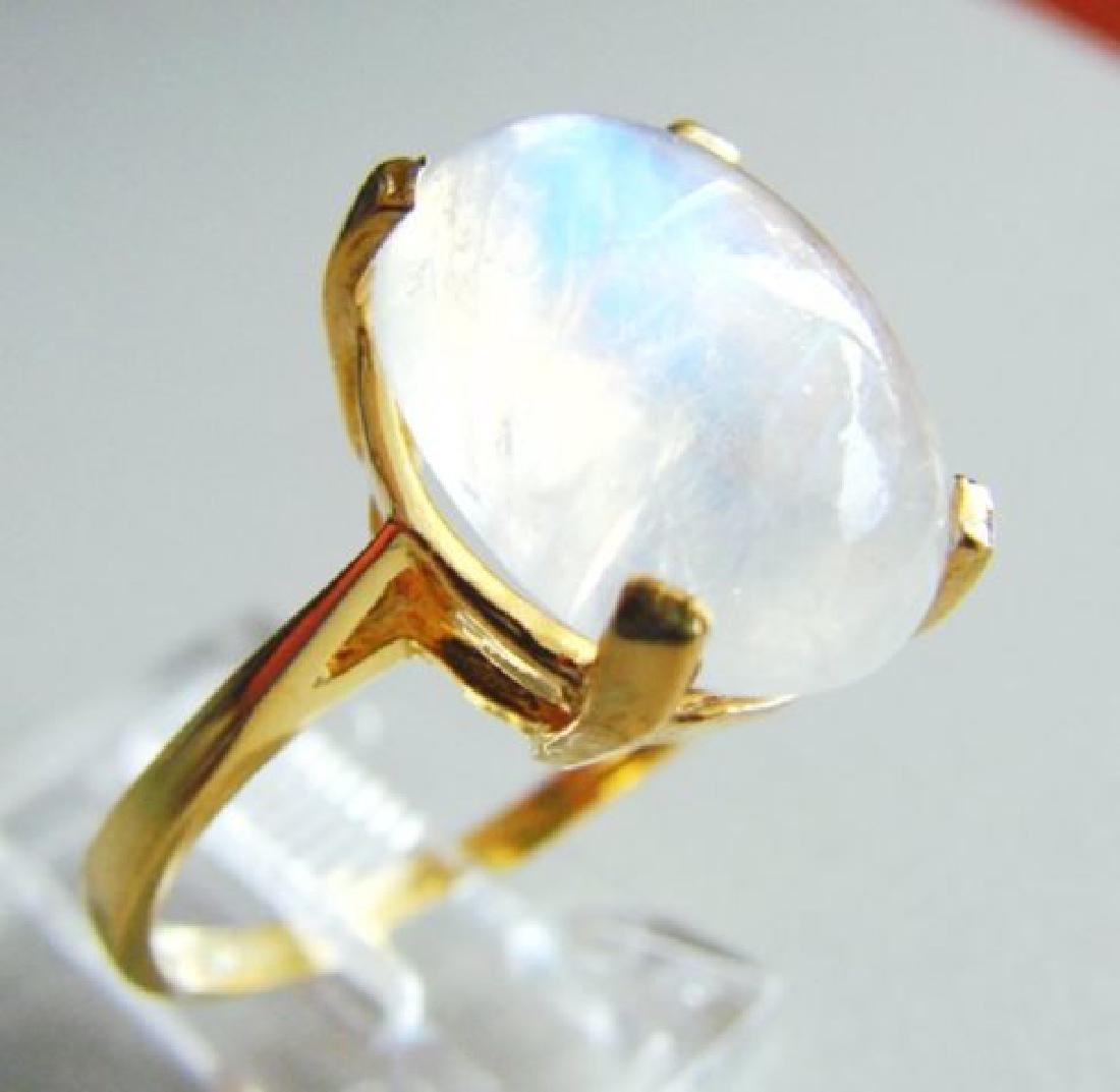 Natural Moonstone Ring 6.15Ct 14k Yellow Gold - 2