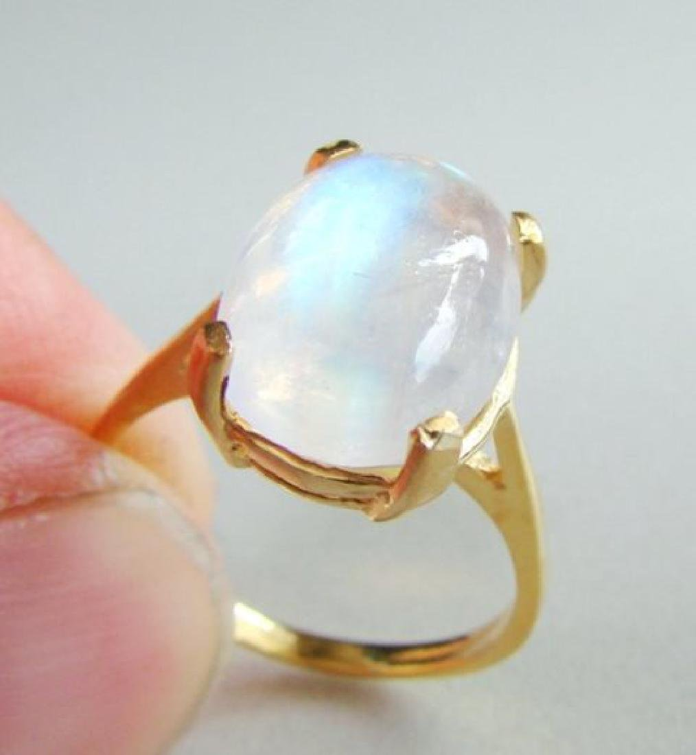 Natural Moonstone Ring 6.15Ct 14k Yellow Gold - 4