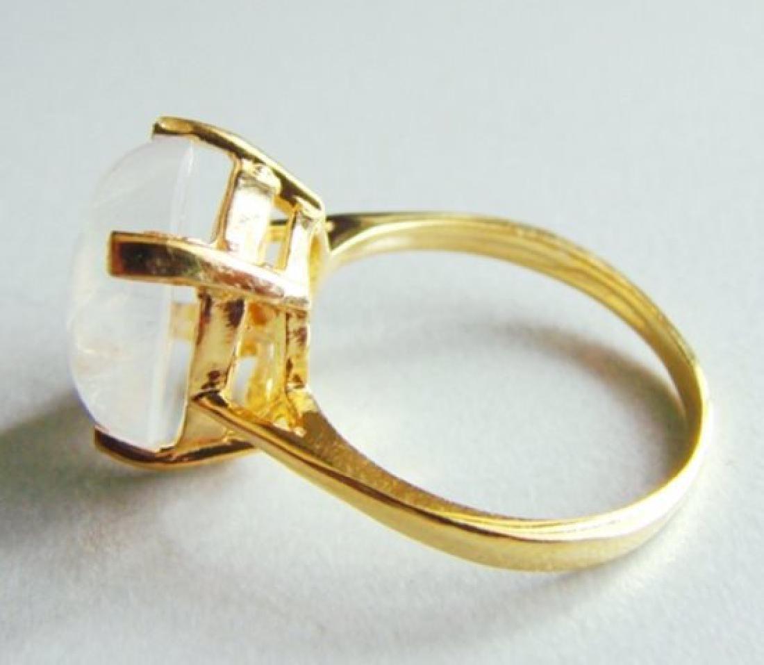 Natural Moonstone Ring 6.15Ct 14k Yellow Gold - 5