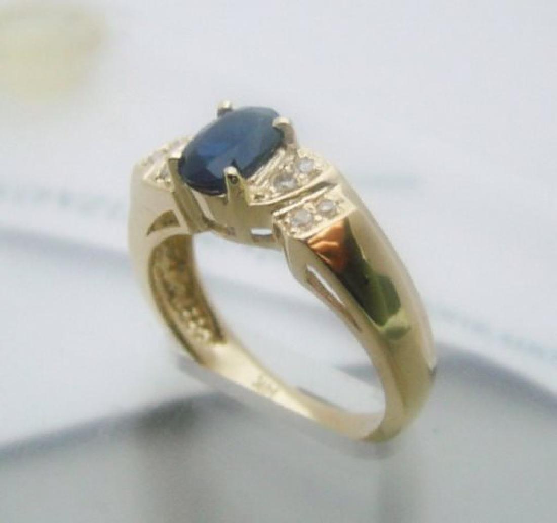 Blue Sapphire: 1.05CT, Diamond: .25CT Ring 14k Y/g - 3