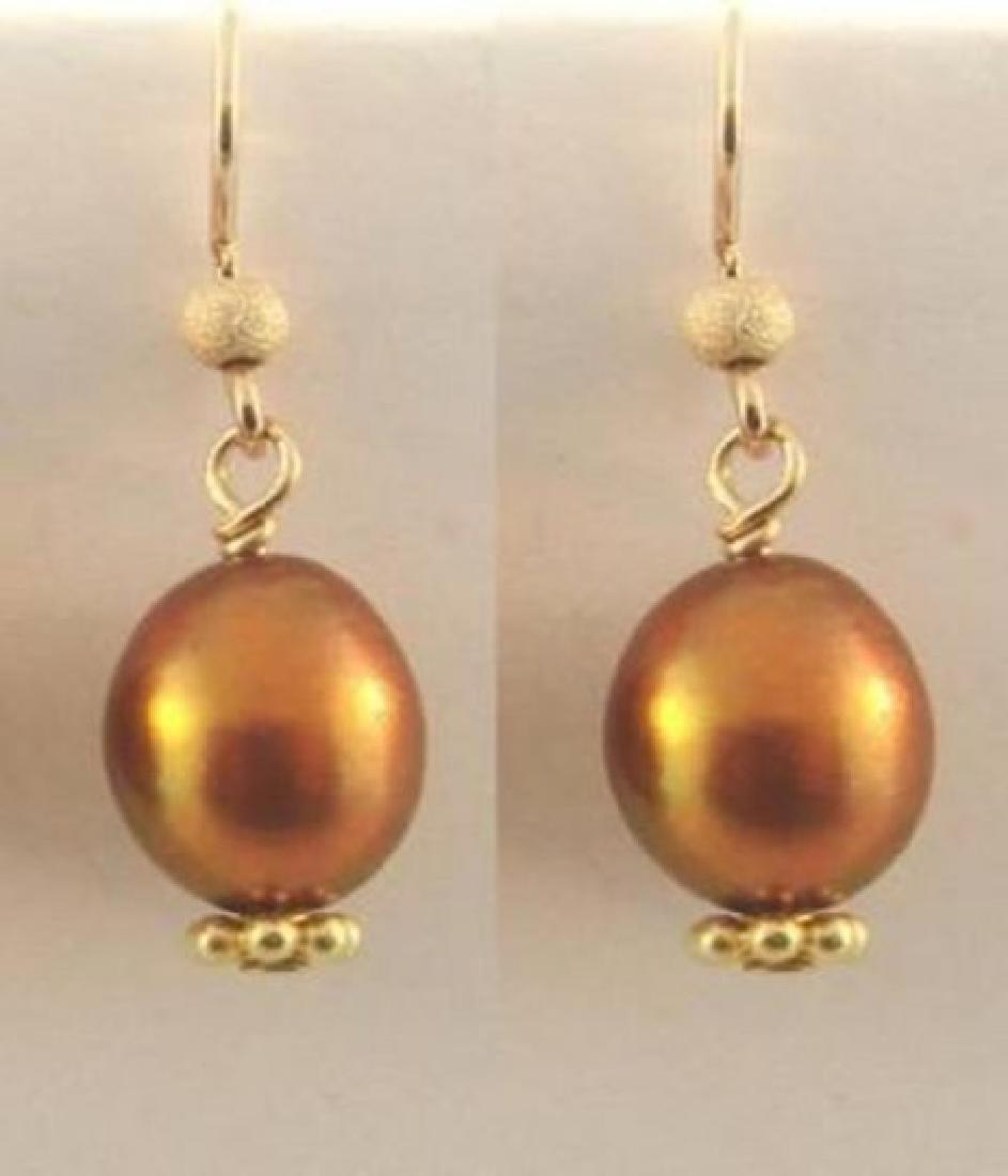 Golden Pearl Dangle Earring 14k Gold Filled