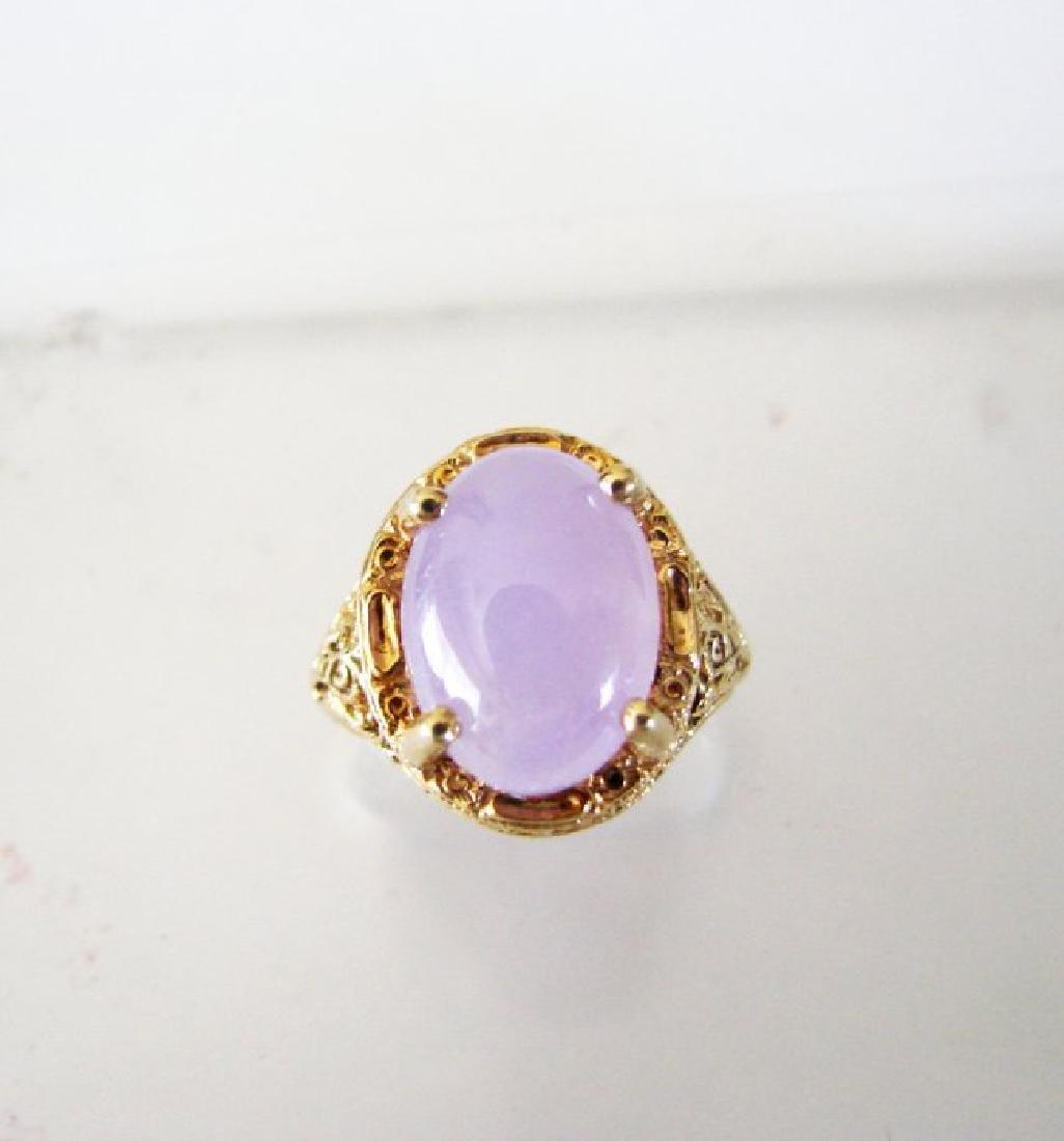 Antique Ring Lavender Jade 6.80 Carat 14k Yellow Gold