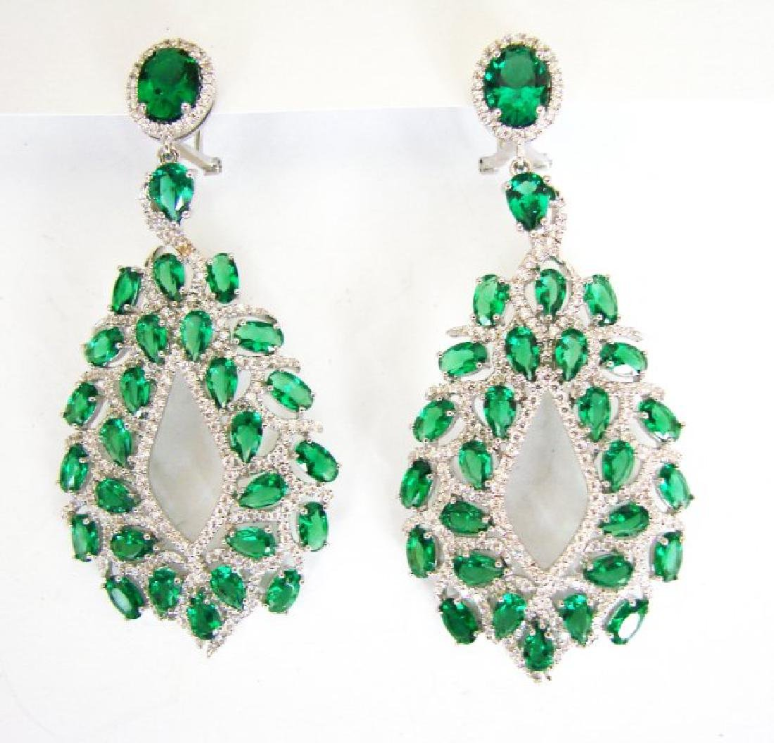 Creation,Diamond&Emerald Earri 14.53Ct 18k W/g Overlay