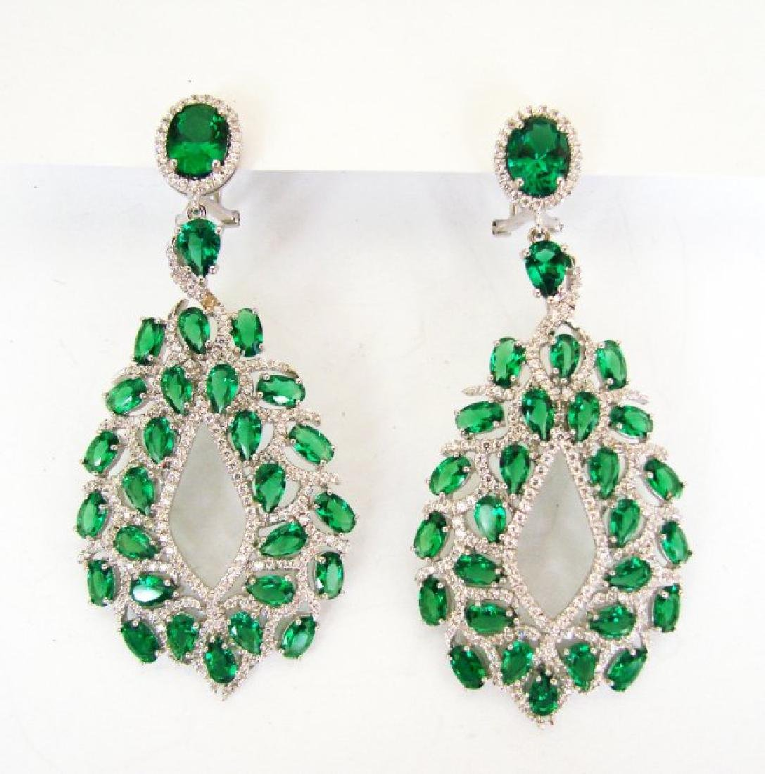 Creation,Diamond&Emerald Earri 14.53Ct 18k W/g Overlay - 2