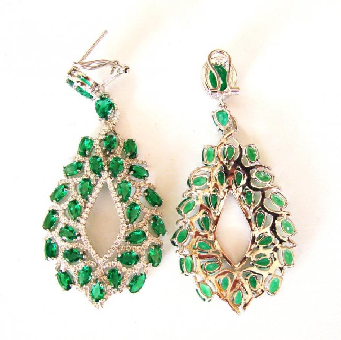 Creation,Diamond&Emerald Earri 14.53Ct 18k W/g Overlay - 3