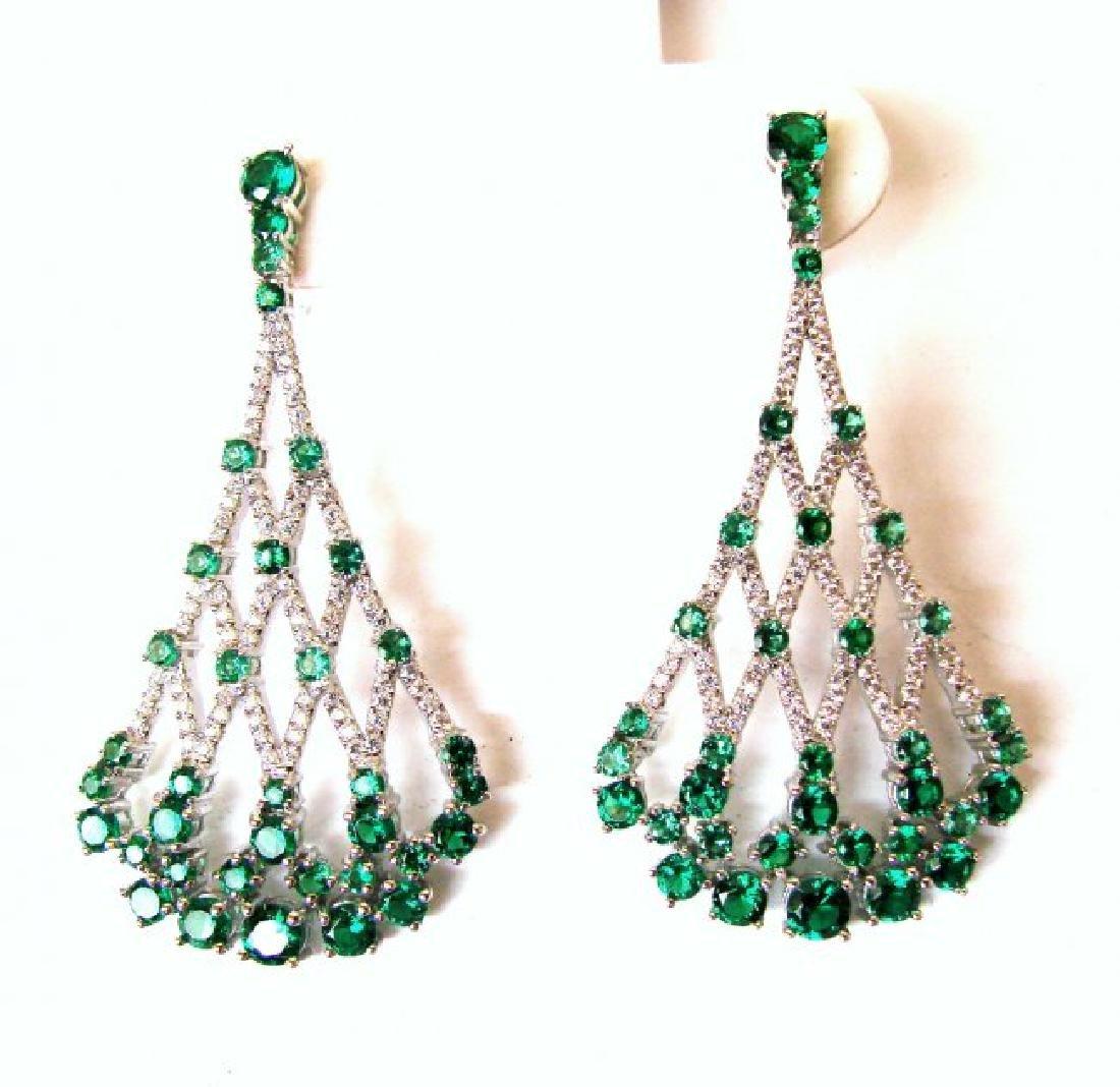 Creation,Diamond&Emerald Earri 9.49Ct 18k W/g Overlay