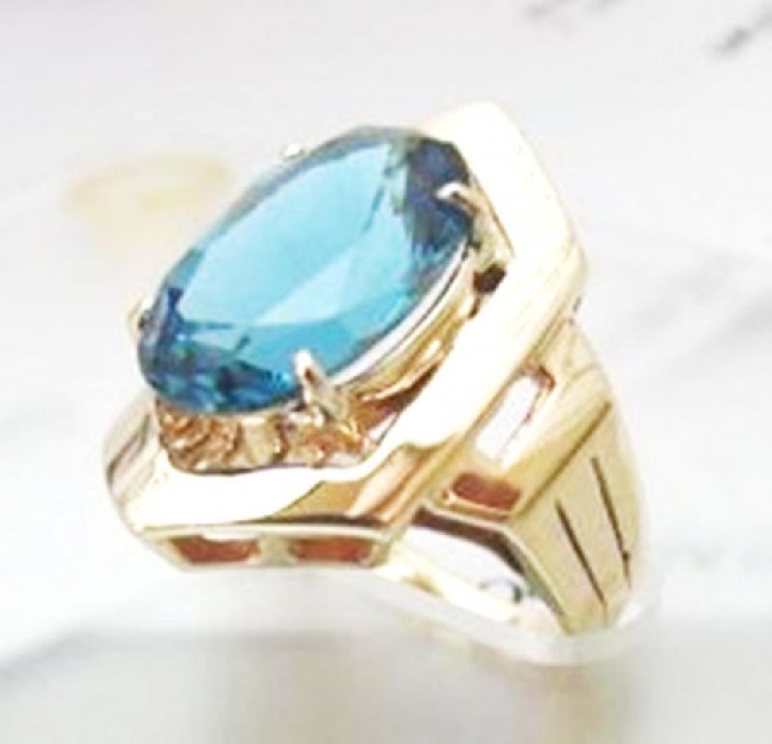 Ring Natural London Blue Topaz 6.84Ct 14k Y/g - 2