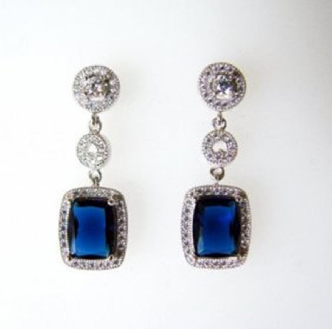 Creation Diamond/Sapphire Earring 10.36Ct 18k W/g