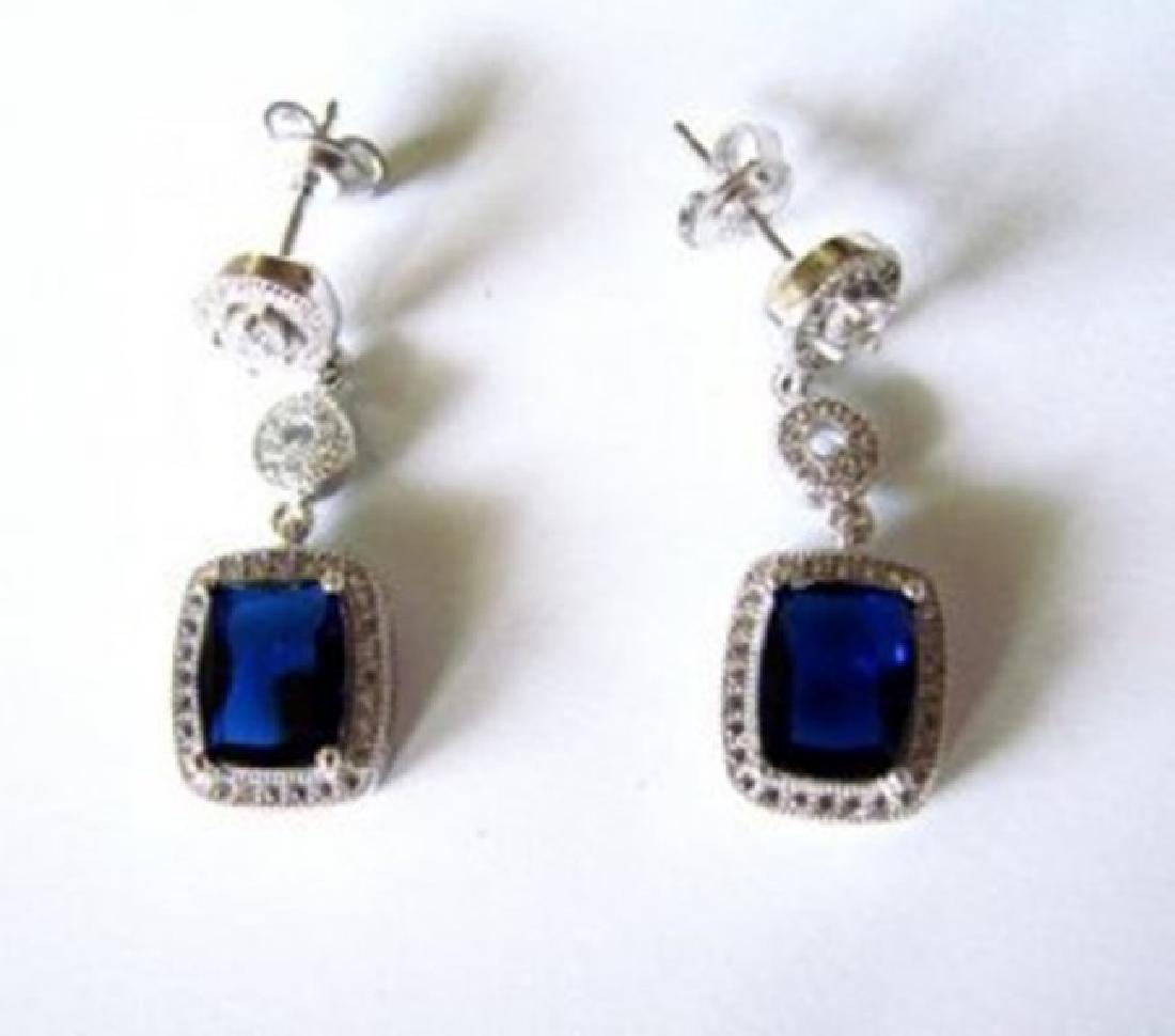 Creation Diamond/Sapphire Earring 10.36Ct 18k W/g - 3