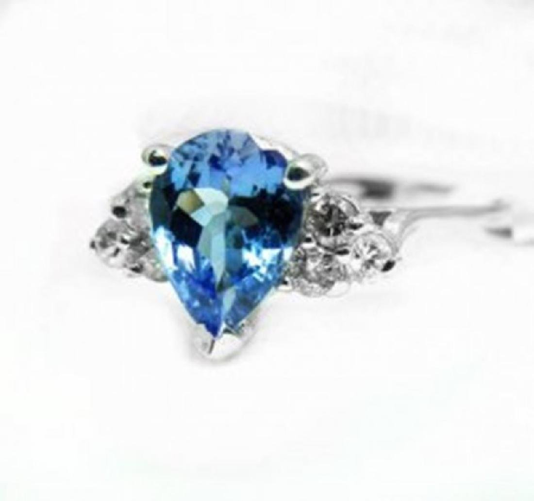 Natural Tanzanite & Diamond Ring 1.73Ct 14k W/g