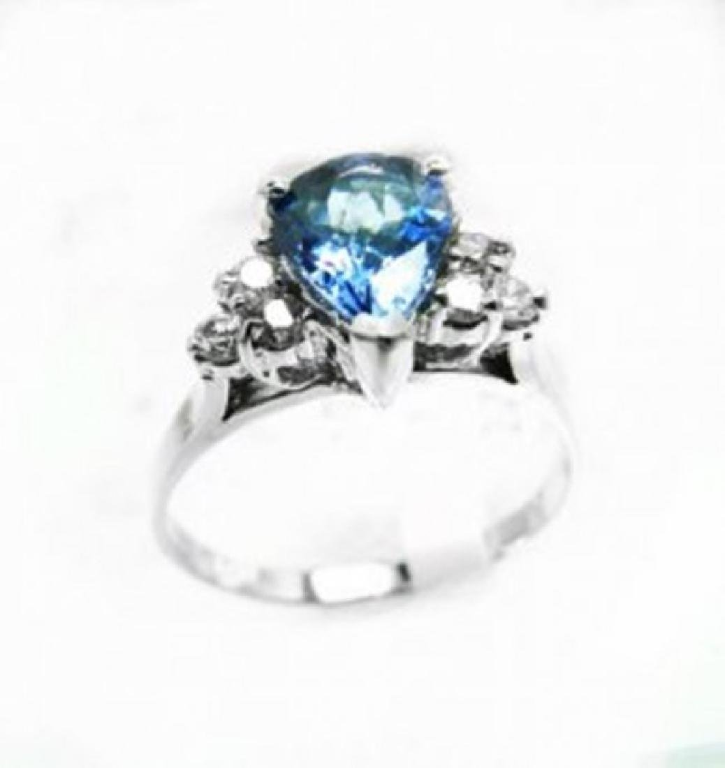 Natural Tanzanite & Diamond Ring 1.73Ct 14k W/g - 2