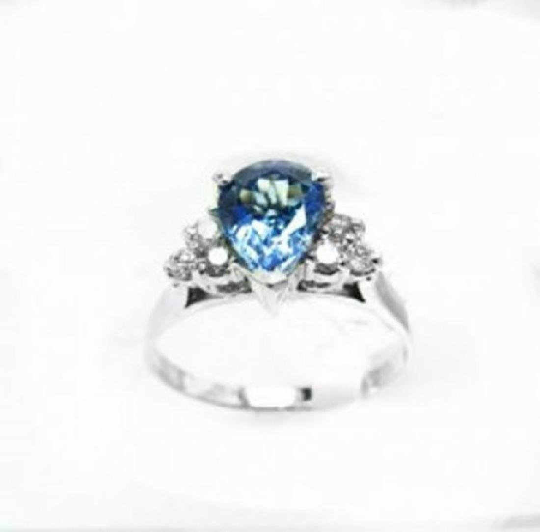 Natural Tanzanite & Diamond Ring 1.73Ct 14k W/g - 4
