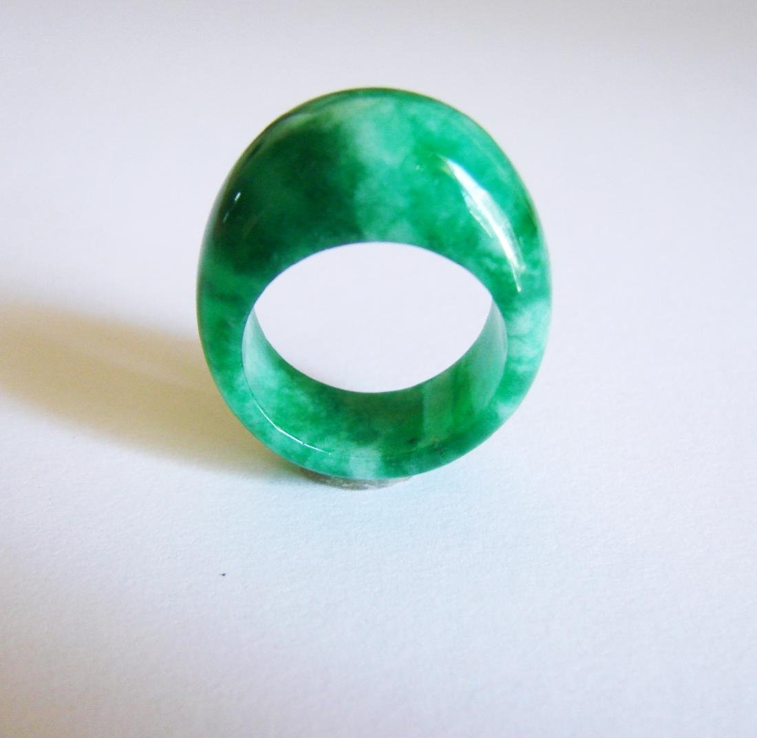 Natural Chinese Jadeit Jade Dome Ring Grade A Size: 8.5