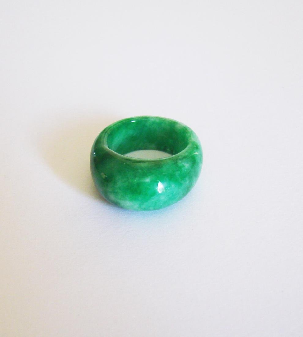 Natural Chinese Jadeit Jade Dome Ring Grade A Size: 8.5 - 2