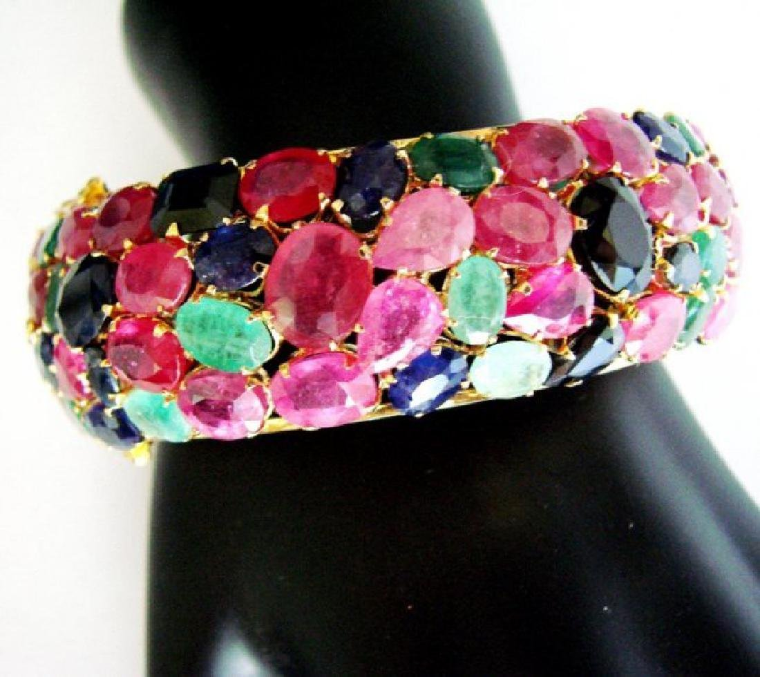 Bangle Natural Gems Multicolor 319.93Ct 18k Y/g Overlay