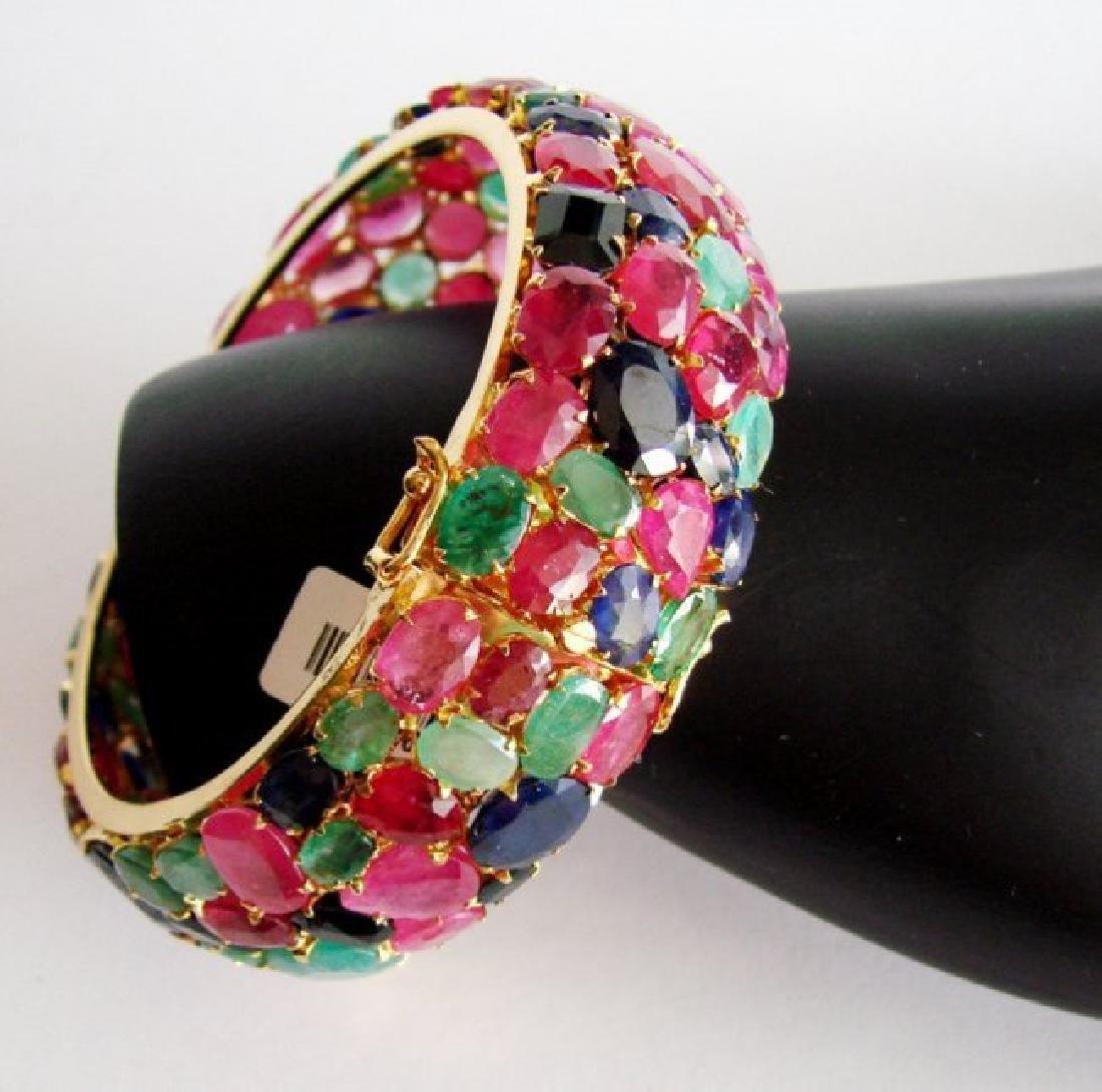 Bangle Natural Gems Multicolor 319.93Ct 18k Y/g Overlay - 2