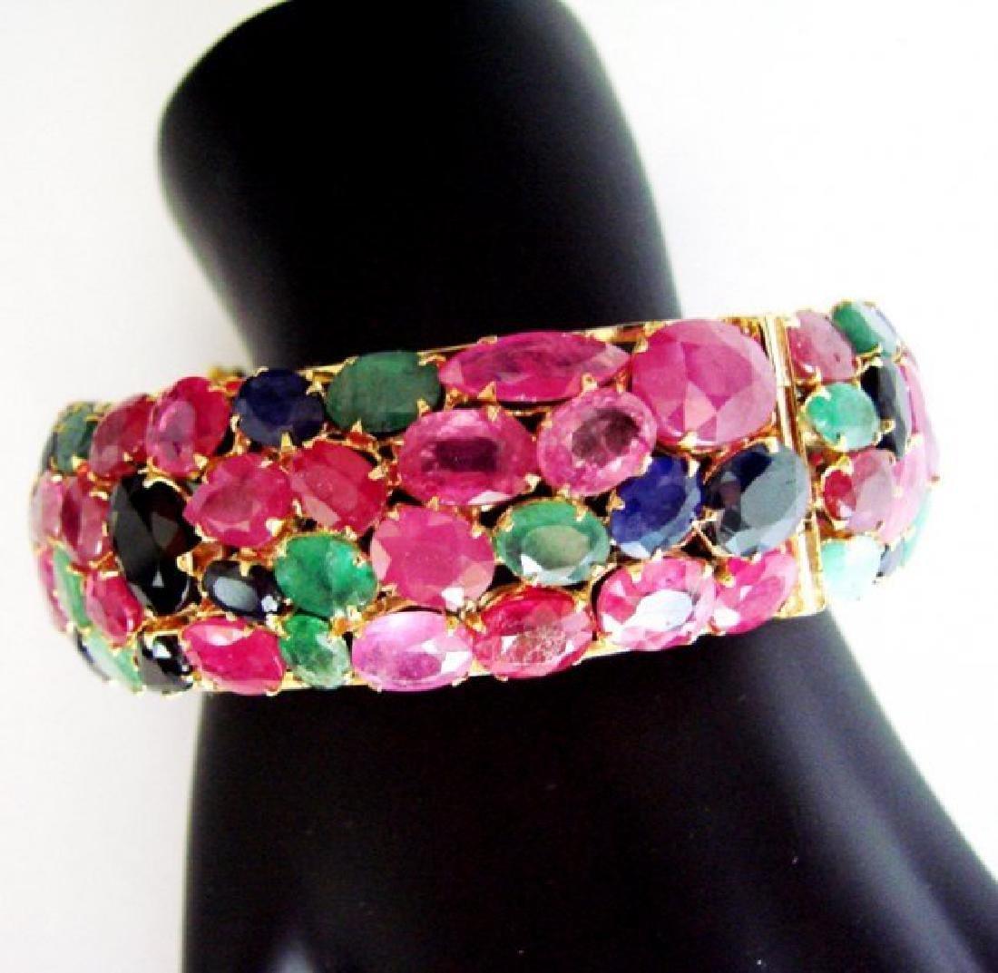 Bangle Natural Gems Multicolor 319.93Ct 18k Y/g Overlay - 3