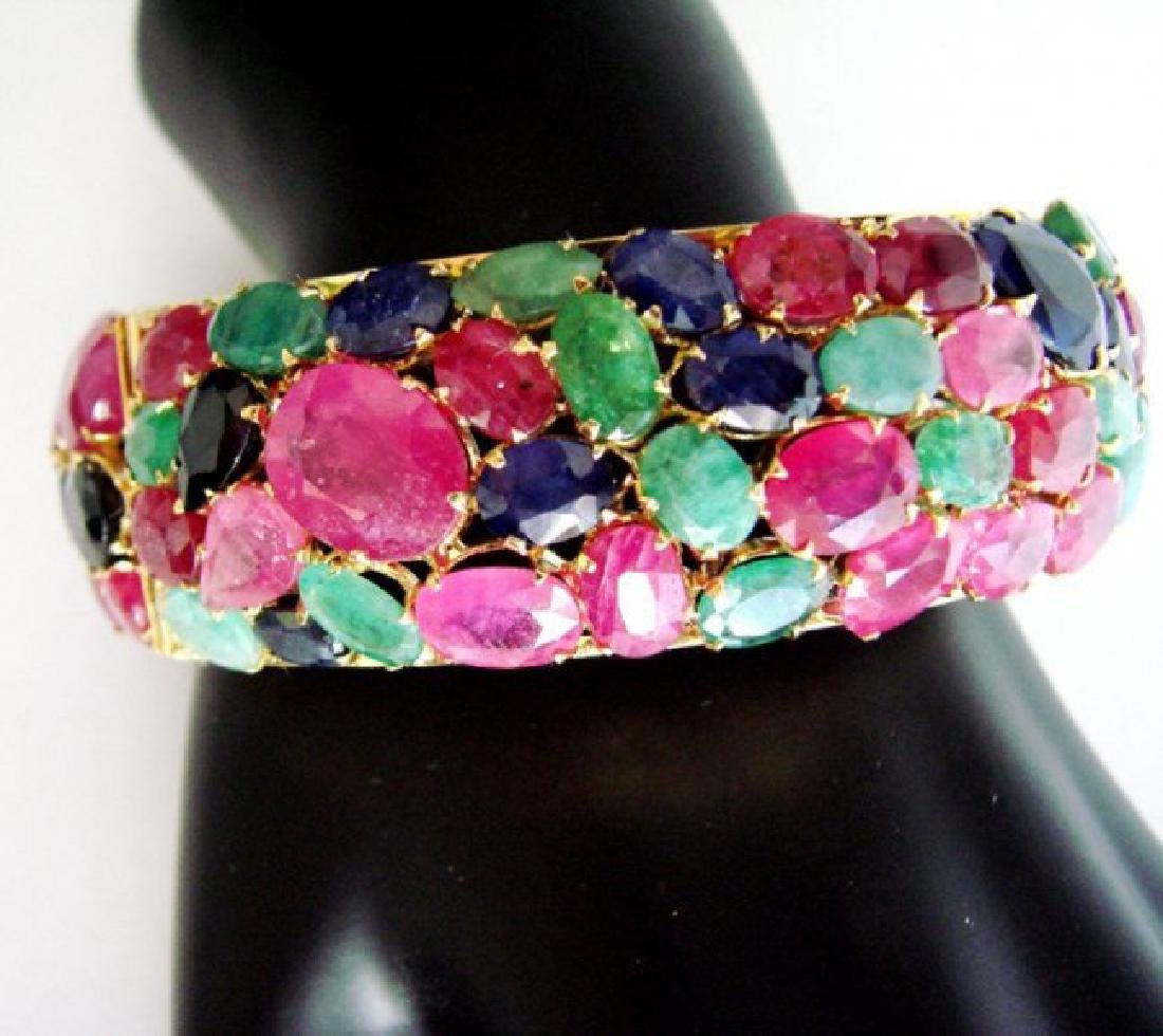 Bangle Natural Gems Multicolor 319.93Ct 18k Y/g Overlay - 4