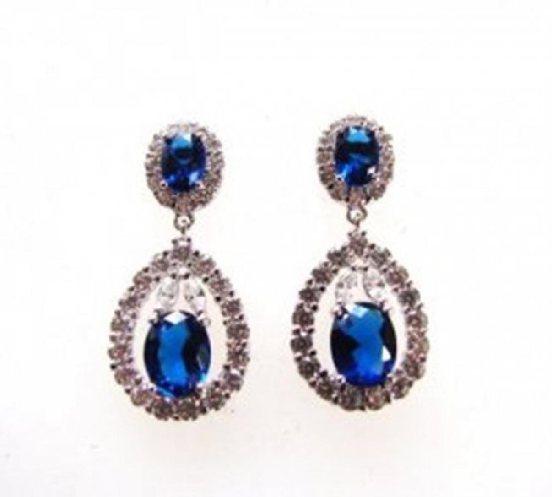 Creation Diamond/Sapphire Earrings 11.76Ct 18k W/g Over